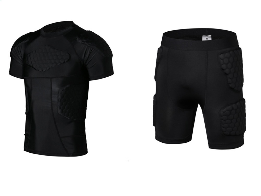 цены Sports Body Protector Shorts and T-shirt Honeycomb Sponge Anti Crash Sport Pads Sportswear Armor For Rugby Football Basketball