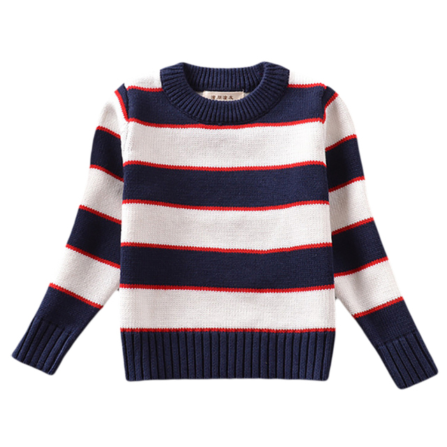 Baby Kids Boys And Girls Sweaters 2016 New Casual Knitted Cotton Striped Pullovers Blue And White Autumn And Winter 18M-5Y GW24