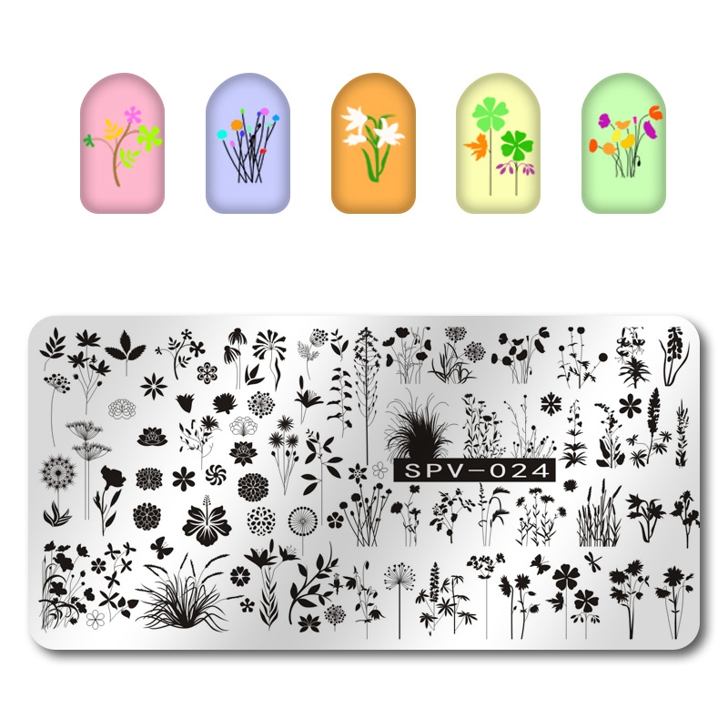 1Pcs Nail Stamping Plates + Thick Back Board Dandelion/Four Leaf Pattern Nail Art Stamp Stamping Template Image Plate SPV024#