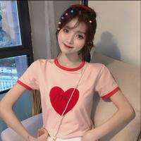 2019 Summer Tshirts New Korean Style Candy Color Love Embroidery Pink Short Sleeve Tees For Women
