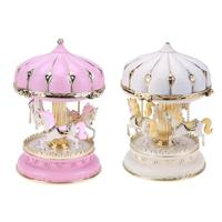 Creative Carousel Music Box With LED Flashing Light Musical Boxes Chirldren Girl Friend Valentine S Day