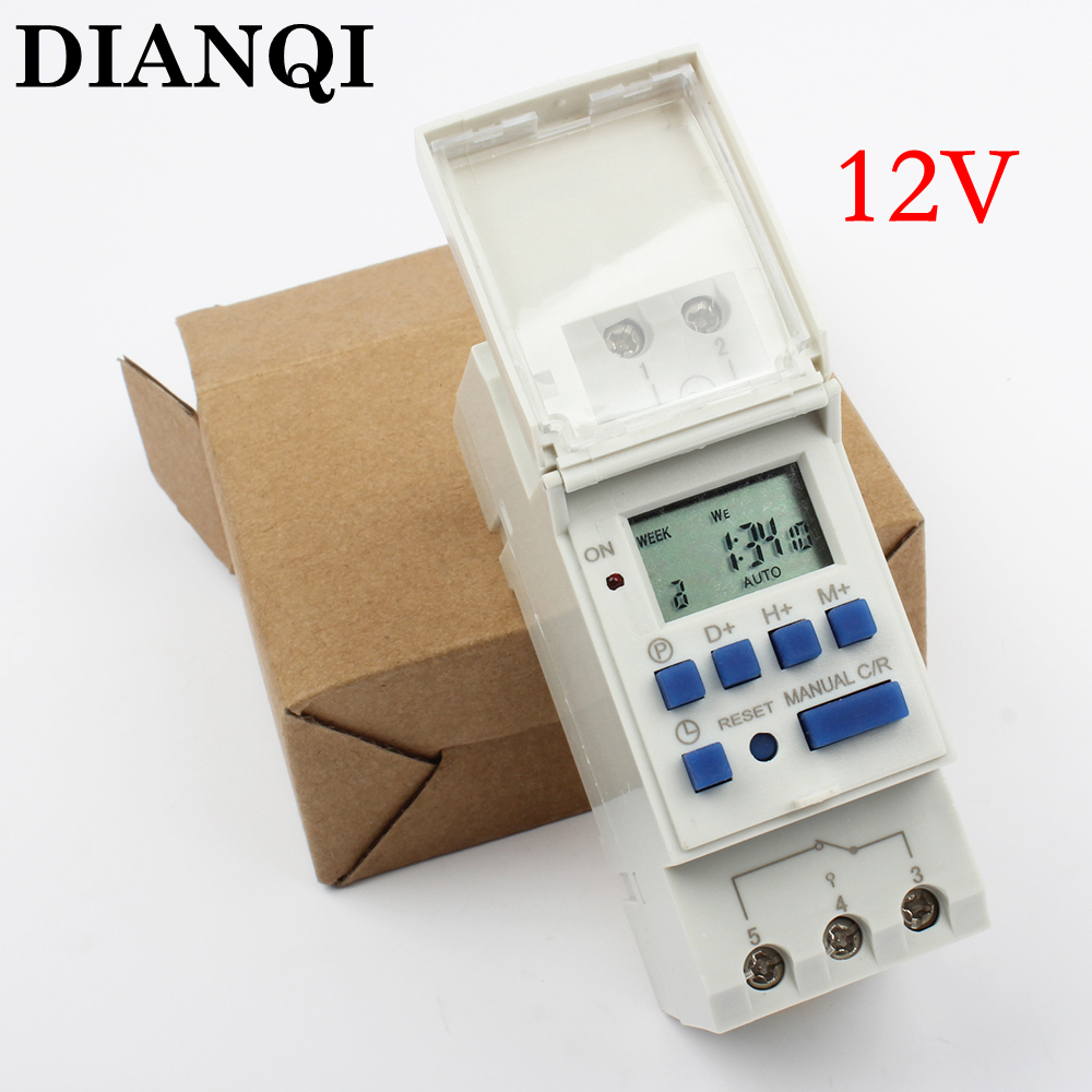 DIGITAL PROGRAMMABLE Timer TIME RELAY Microcomputer Electronic Digital TIMER SWITCH Relay Control 12V Din Rail Mount tp8a16 dc 12v led display digital delay timer control switch module plc automation new