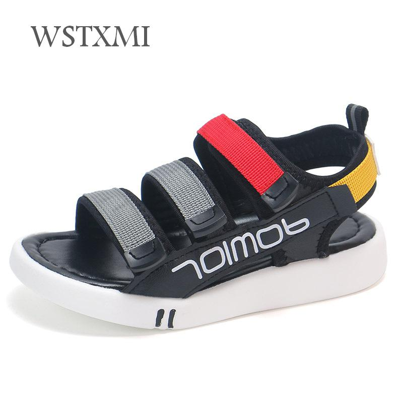 Summer Kids Sandals For Baby Girls Leather Sandals Cool Children Beach Shoes Boys Sports Soft Breathable Casual Shoes Size 21-30