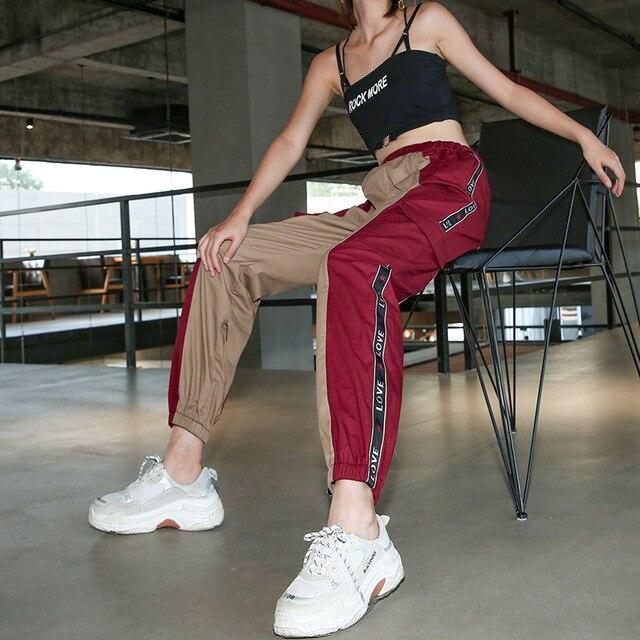 Bella Philosophy Cotton Punk Rock Cargo Pants Spliced Panelled Womens Joggers Sweatpants Streetwear High Waist Harajuku Pants