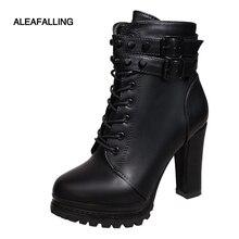 """Aleafalling נשים אופנוע מגפי חדש נשי אופנה אישה של 11 ס""""מ גבוהה העקב בוגר מגפיים שטוחים בציר אבזם מזדמן ליידי מגפיים"""