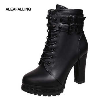 Aleafalling Women Motorcycle Boots New Female Fashion Woman's 11cm High Heel Mature Boots Flat Vintage Buckle Casual Lady Boots - DISCOUNT ITEM  25% OFF All Category