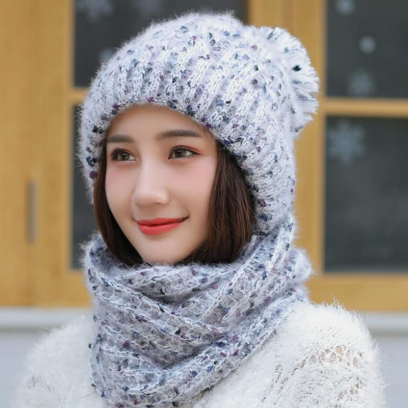 Hot Ski Girl 2018 New Brand Color Mixing Knitted Hats Scarf Hat Set Women's Winter Hat Thick Beanie Skullies Female Hood