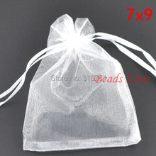 Free Shipping 100PCS white Jewelry Packing Drawable Organza Bags Wedding Gift 7CMX9CM