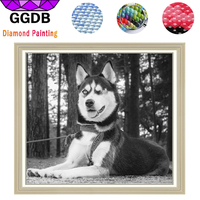 GGDB 5D Diy Diamond Painting Lying Down Dog Cross Stitch Wall Sticker Embroidery Resin Square Diamond