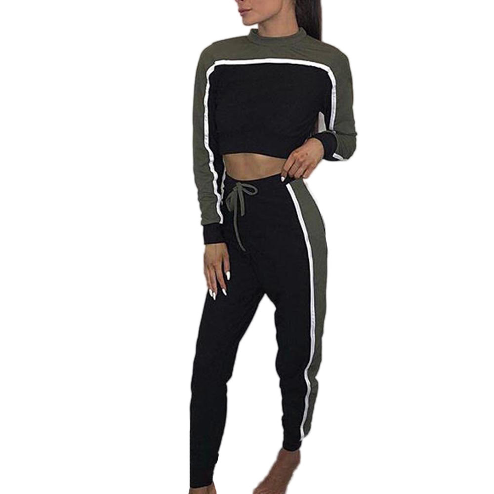 2018 Spring Women 2 piece clothing set casual crop top + long pants ladies sexy tracksuit hoodie suit ropa deportiva mujer EY11