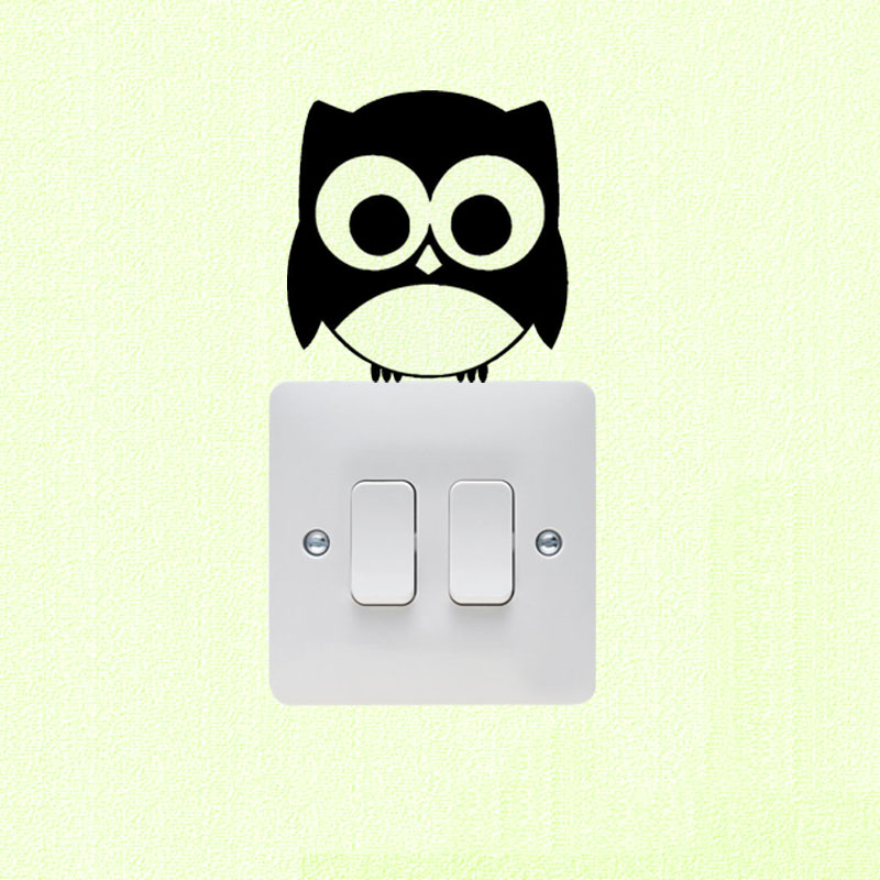 Cute Owl Vinyl Wall Decal Home Decor Funny Switch Sticker 3SS0053