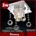 Aço inoxidável de alta qualidade sala de estar iluminação Led decoração 18 cm * 18 cm * 20 cm K9 lustre de cristal 3 W Led teto lâmpadas