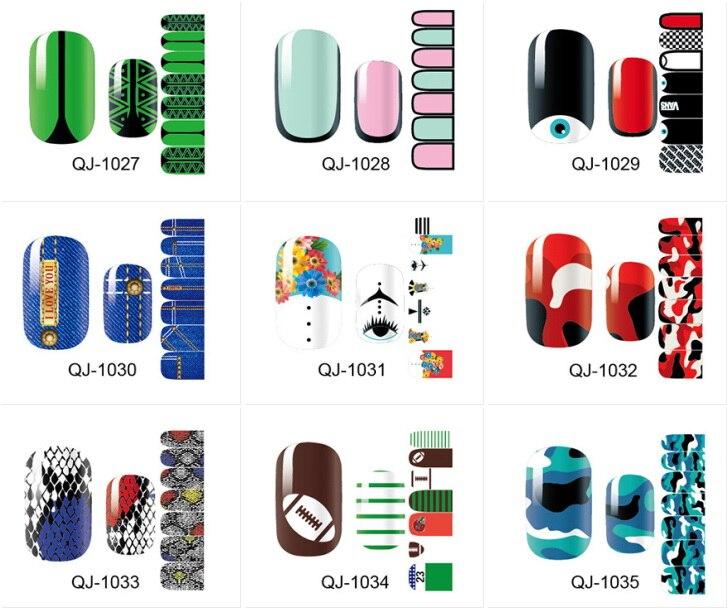 14 Tipps/pc Flut Marke Serie Von Big Eyes Voller Stick Grün Nagellack Aufkleber Aufkleber Aufkleber Maniküre Qj1027-1041 Gute QualitäT