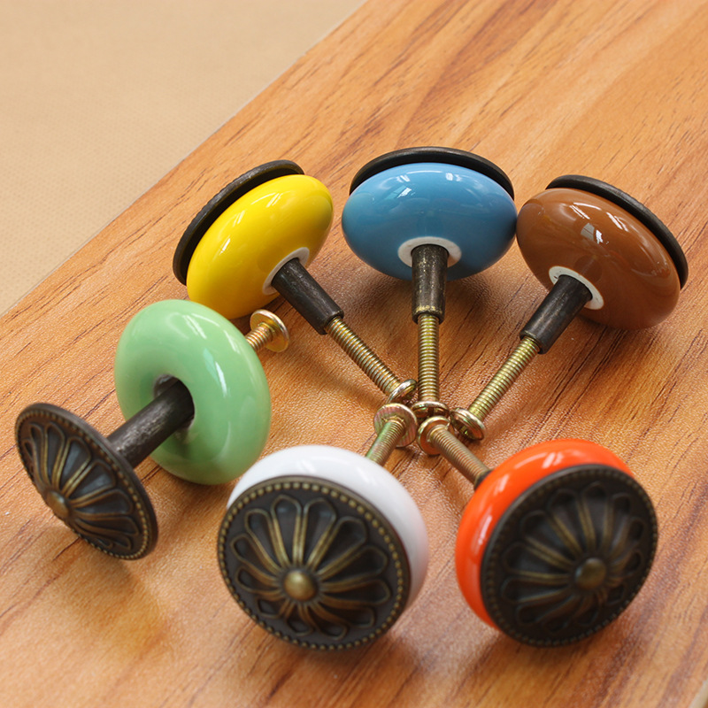 1 3 quot Diameter Cabinet pull European simple Wardrobe doors wine cabinet doors cabinet doors drawers handles ZINC ALLOY amp CERAMIC in Cabinet Pulls from Home Improvement