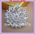 Bright Clear Cubic Zircon Crystal Lovely Heart Flower Silver Alloy Women Dress Brooch For Wedding