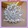 Brillante Clear Cubic Zircon Crystal flor encantador del corazón de la aleación de plata de la mujer broche vestido para la boda