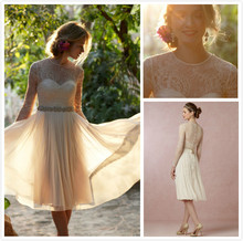 Vintage O Neck Appliques Lace Knee Length Prom Dresses With Long Sleeves Vestido Curto 2015