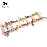 Purple Star 10 48cm Pet Parrot Colorful Wood Ladder Cotton Rope Bite Toy Cage Pendant Decor