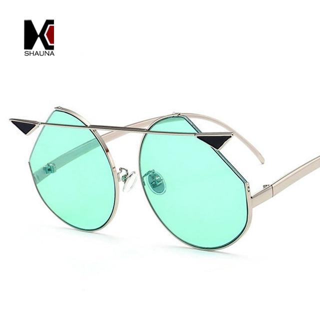 a8bdc56be5c56c SHAUNA Surdimensionné Unique Petit diable Printemps D été Styles Femmes  Cateye lunettes de Soleil De