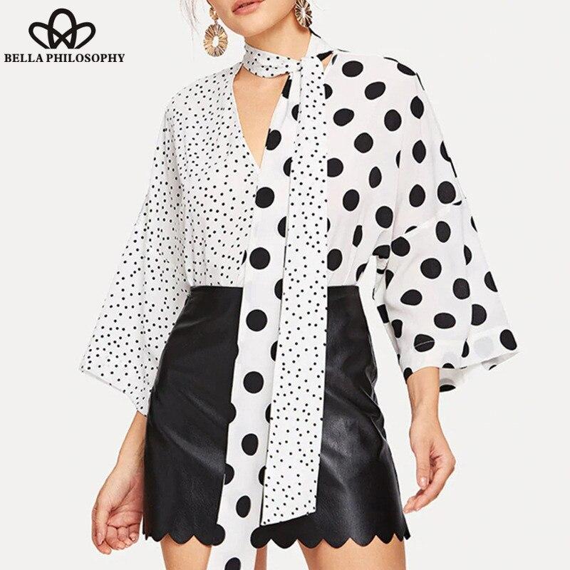Maravilha Mulheres Primavera de Moda de Nova V-neck Polka Dot Blusa Splicing Assimétrica Casuais Camisas Do Vintage Patchwork Lady Tops 2019 S-XXL