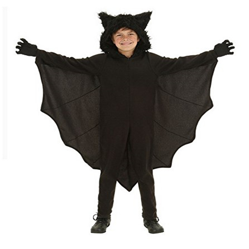 Child Animal Cosplay Cute Bat Costume Kids  Black Jumpsuit Connect Wings Cosplay Batman