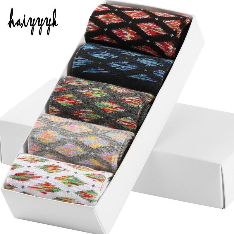 5 Pair/Lot Cotton Mens Socks Compression Socks Colorful Diamond Funny Casual Crew Socks Men Size 39-43