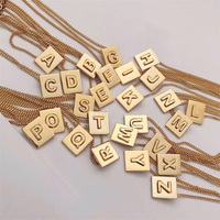 2019 Hot Fashion Luxury Gold 585 A~Z Square Pendant Necklace High Quality Texture 26 Letters Necklace Chain Simplicity All match