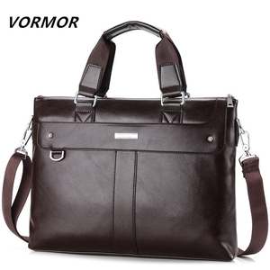 Image 2 - Vormor bolsas masculinas de couro, pasta executiva de ombro para computador e laptop 2020
