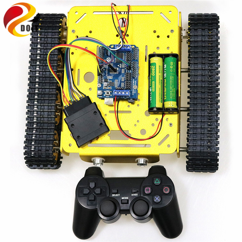 US $30 5 |PS2 Joystick Control Smart Robot Tank Chassis with Dual DC 9V  Motor+Arduino Board+Motor Driver Board for DIY Project T200-in RC Tanks  from