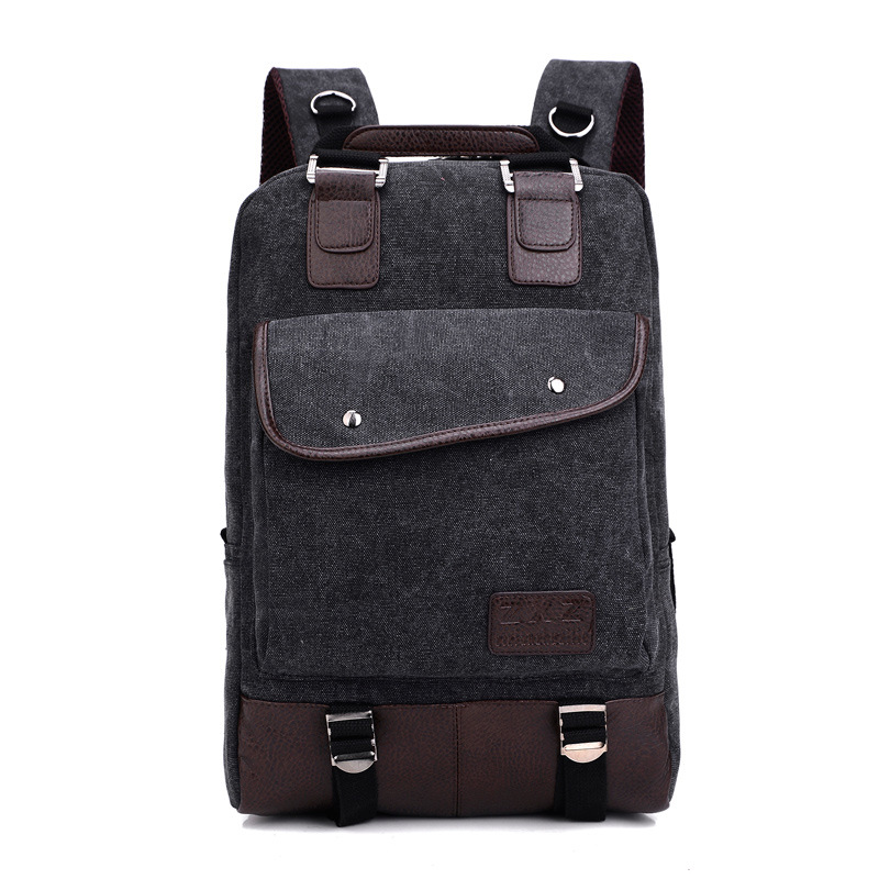Korean casual large-capacity solid color shoulder bag men fashion college wind canvas backpack buckets trendy travel bag edgy trendy casual canvas backpack men large capacity simple backpack fashion hook buckle travel bag durable rucksack