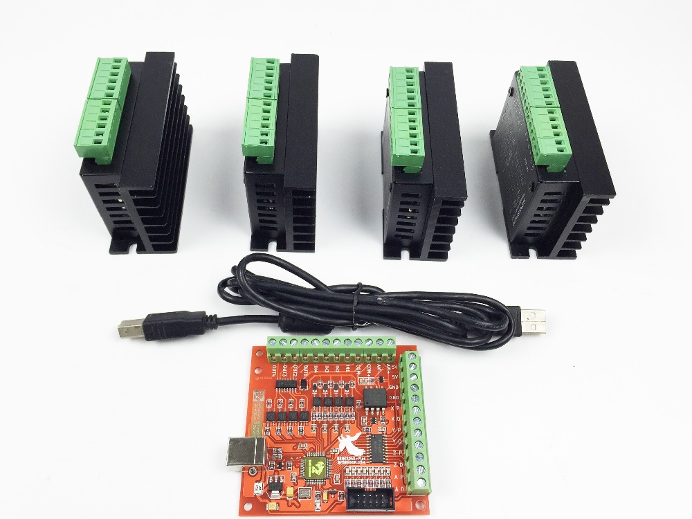 CNC TB6600 mach3 usb 4 Axis Kit, 4pcs TB6600 1 Axis Driver + one mach3 4 Axis USB CNC Stepper Motor Controller card 100KHz free shipping high quality 4 axis tb6560 cnc stepper motor driver controller board 12 36v 1 5 3a mach3 cnc 12