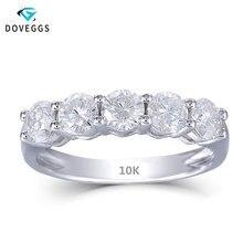 DovEggs 10K לבן זהב 1.25CTW 4mm GH צבע Moissanite אירוסין טבעת חצי נצח יום נישואים נישואים לנשים
