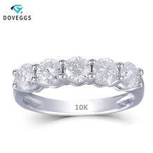 Doveggs 10 k ouro branco 1.25ctw 4mm gh cor moissanite anel de noivado meia eternidade aniversário casamento banda para mulher