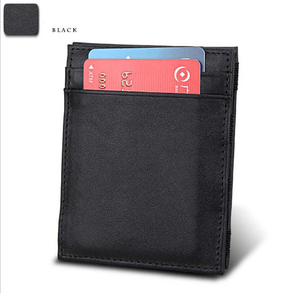 Океан BLUEVIN Корейская версия волшебного кошелька Зажимы для денег для мужчин кошелек ультра-тонкий Carteira тонкий кожаный бумажник ID Cred