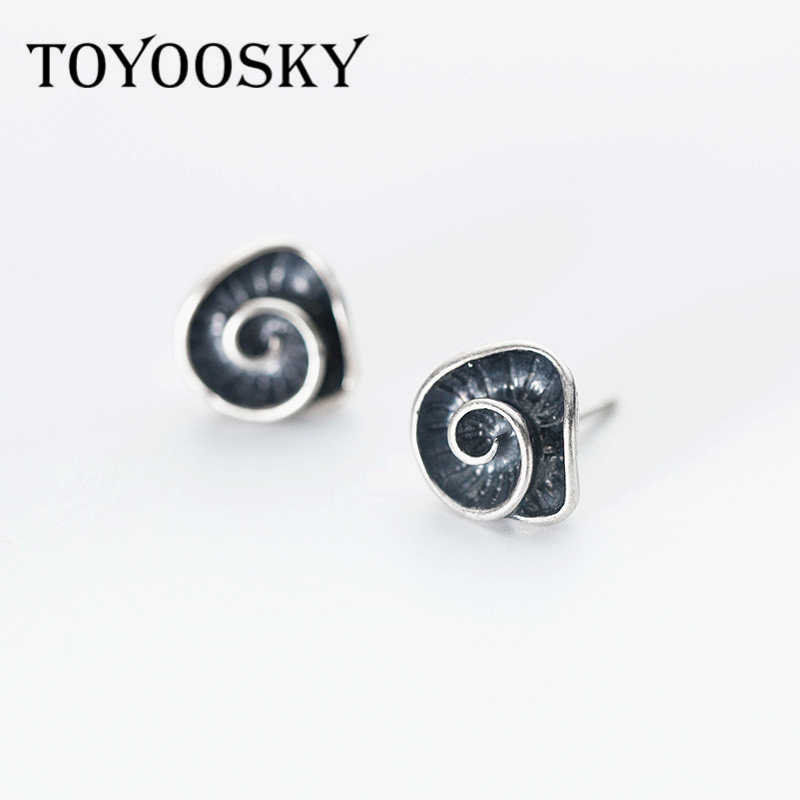 TOYOOSKY Design Real 925 Thai Silver Twist Shape Geometry Stud Earrings for Men Women Girls Fashion Sterling-silver-jewelry