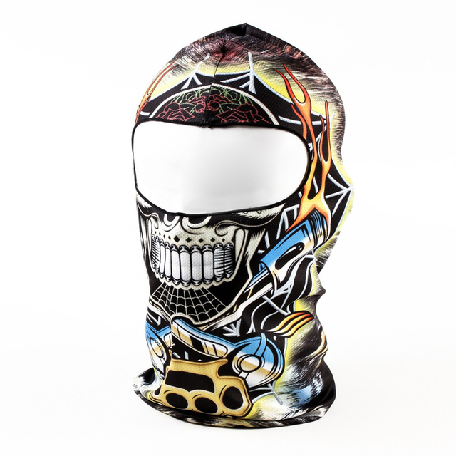 d9c30640d06 Good deal Yellow Blue with Black Skull 3D Animal Active Outdoor Sports Cycling  Motorcycle Masks Ski Hood Hat Veil Balaclava