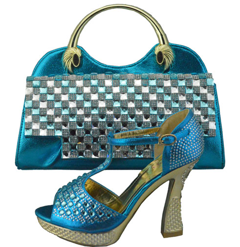 Most fashion High heel shoes perfect matching handbag 1308-35 Turkey blue african lady shoes and bag sets for party