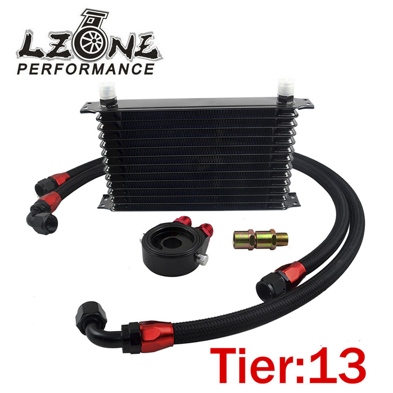 LZONE RACING - UNIVERSAL 13 ROWS  TRUST TYPE OIL COOLER+OIL FILTER SANDWICH ADAPTER BLACK + BLACK NYLON BRAIDED  HOSE AN10 HOSE