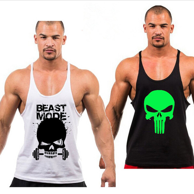 ff523413b8e014 Free shipping Superhero Punisher Muscle Tank Top Men Stringer Fitness  Bodybuilding Workout Vest Cotton Loose Fashion Singlet