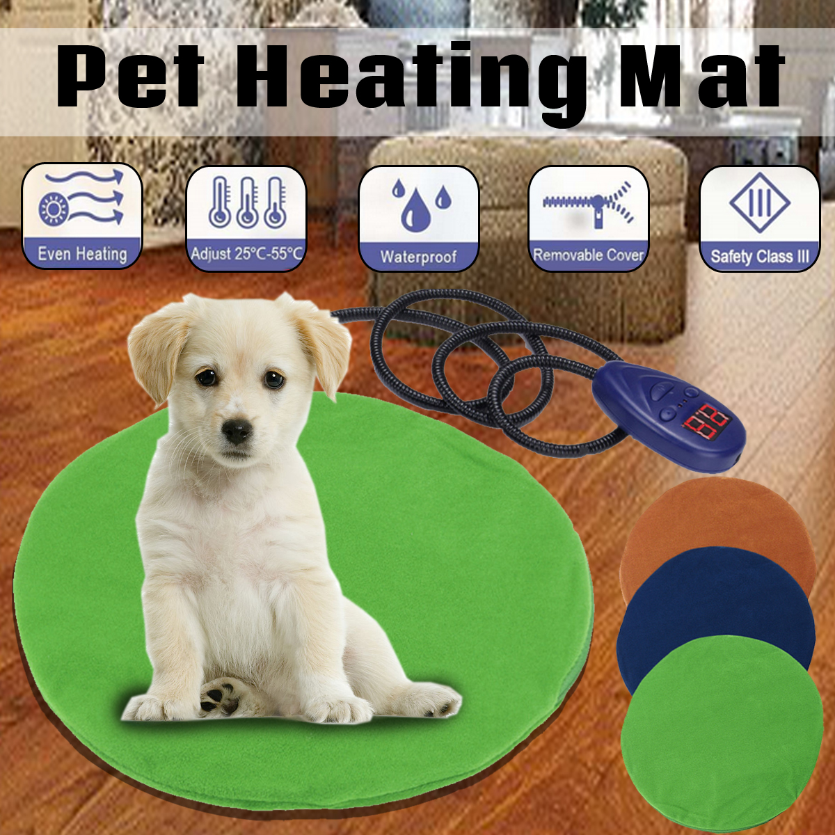 12V Pet Dog Kitten Waterproof Electric Heating Heated Pad Mat Thermal Protection Bed Temperature Adjustable Winemaking Mat 30cm12V Pet Dog Kitten Waterproof Electric Heating Heated Pad Mat Thermal Protection Bed Temperature Adjustable Winemaking Mat 30cm