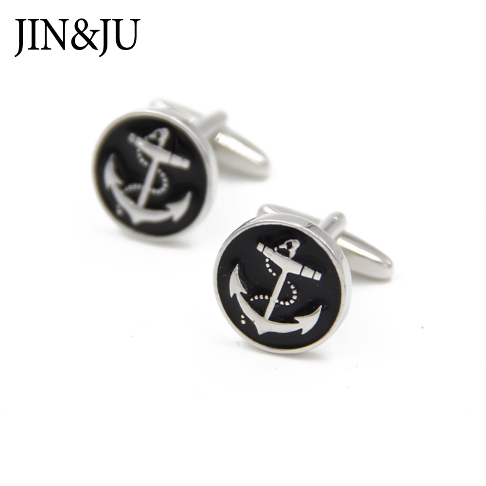 JIN&JU Limited Tie Clip Design Wheel Anchor wedding Tone Dress Cufflinks Gift For Man gemelos para camisas hombre
