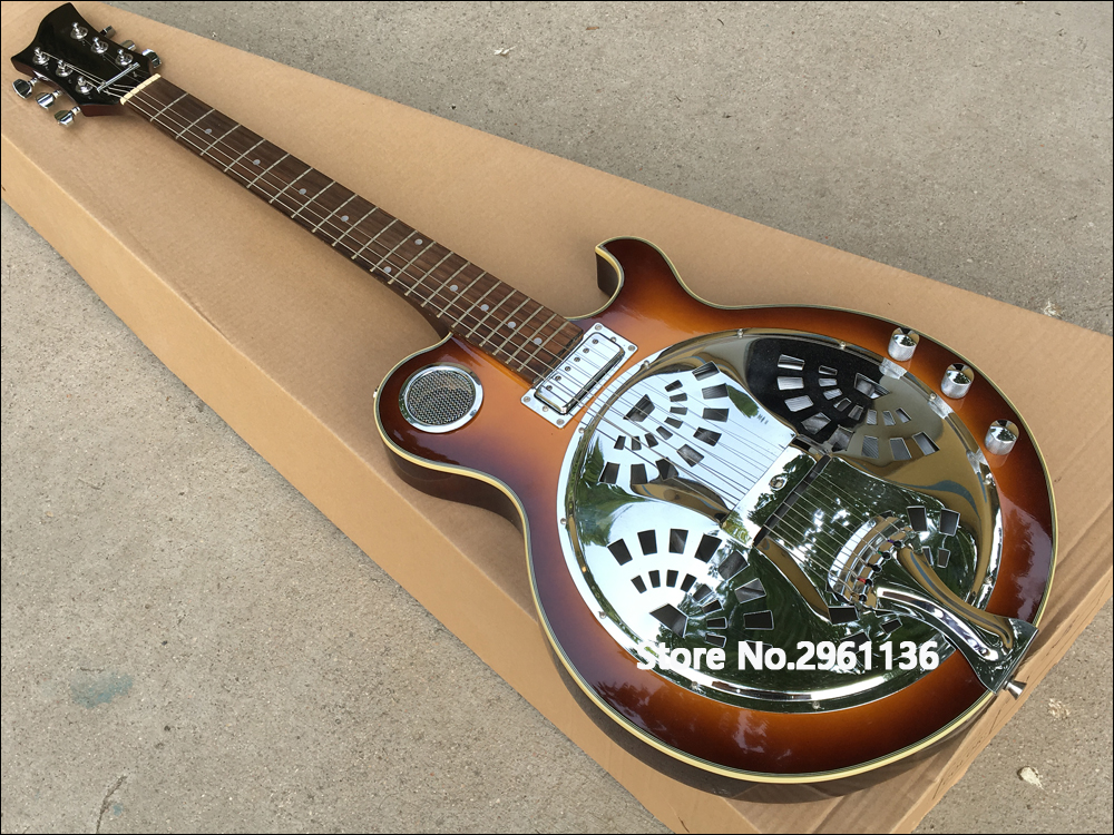 2017 Electric Guitar Vintage Sunburst Dobro Resonator Steel With Flame Maple Top Guitarra Real Photo Hot