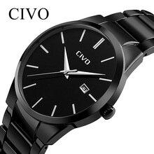 CIVO de reloj de moda los hombres de marca de lujo de la mejor militares relojes de cuarzo impermeable relojes de acero inoxidable para hombre reloj de pulsera reloj