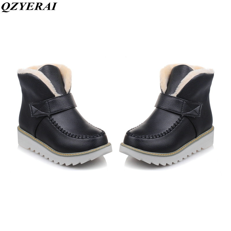 QZYERAI Snow boots Plus size 34-44 New 2018 Snow Boots platform women winter shoes waterproof ankle boots lace up fur boots platform bowkont flocking snow boots page 5