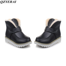 QZYERAI Snow boots Plus size 34-44 New 2018 Snow Boots platform women winter shoes waterproof ankle boots lace up fur boots
