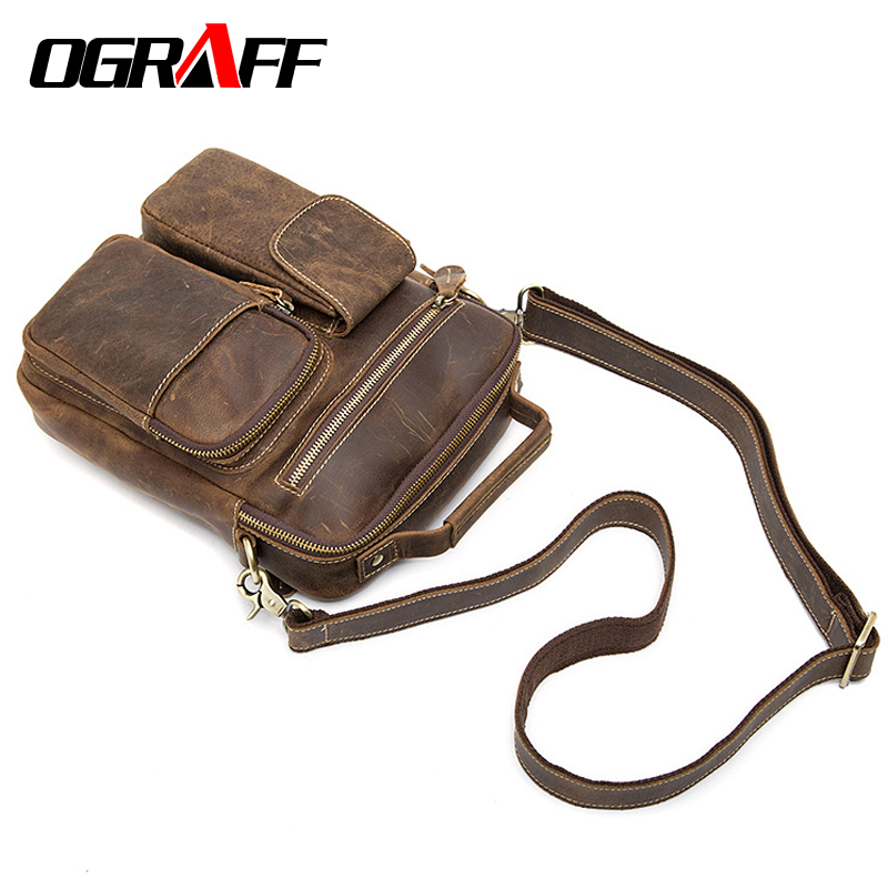 OGRAFF Handbag Men Genuine Leather Bag Men Messenger Bag Handbag Birefcases Crazy Horse Leather Shoulder Bags 2018 Men Bag Small ograff genuine leather bag men messenger bags handbag briescase business men shoulder bag high quality 2018 crossbody bag men