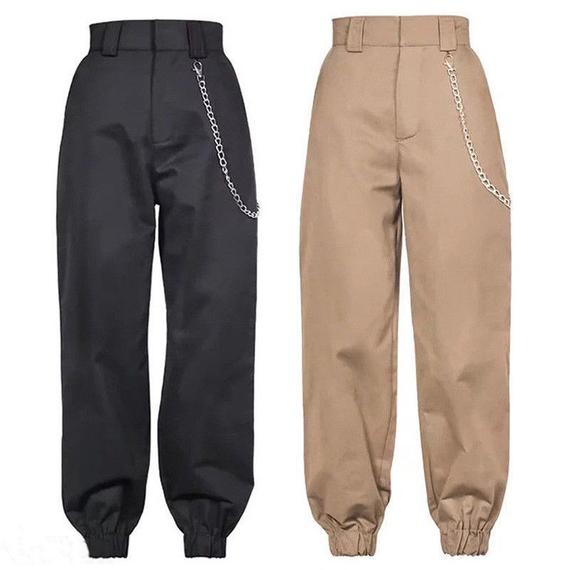 Women's high waist cargo trousers cotton pants solid punk casual loose long sports fashion plus size 8