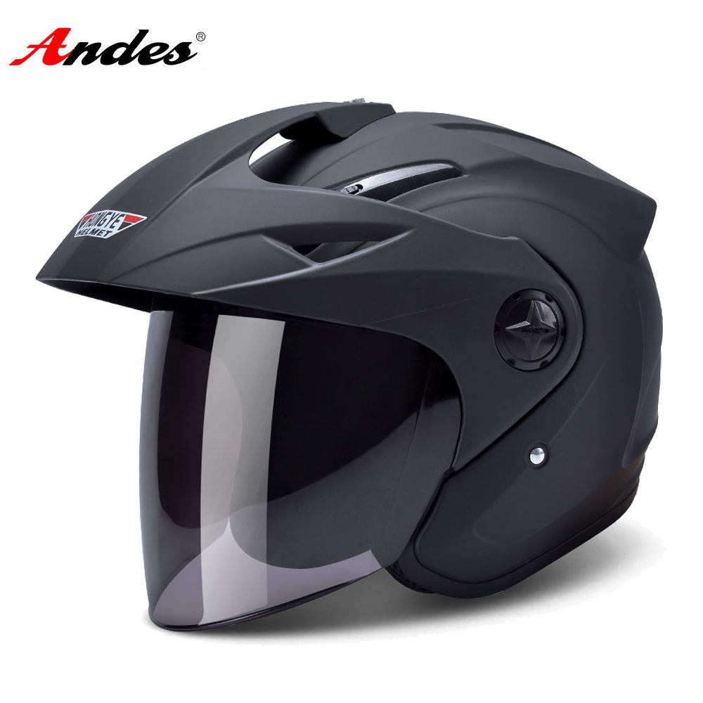 Andes Motorcycle Helmet 3/4 Open Face Moto Helmets Scooter Unisex Biker Motocross Motorbike Casco Moto With Anti-fog Visor