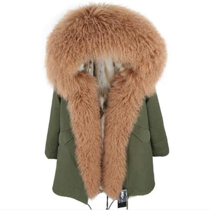 2018 new Fashion womens winter jacket real fur coat Winter natural Rabbit Lined