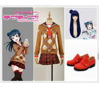LoveLive!SunShine! Aqours Tsushima Yoshiko Chocolate Valentine's Day Cosplay Costume Custom Coffee Sailor Suit Skirt Wig Shoes